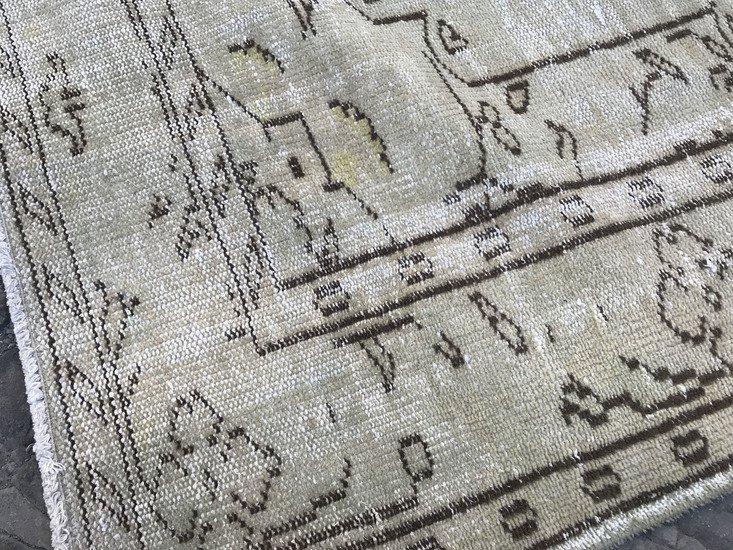 Greenish beige overdyed handmade rug   turkish oushak rugs istanbul carpet treniq 1 1493217257394