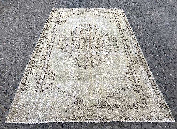 Greenish beige overdyed handmade rug   turkish oushak rugs istanbul carpet treniq 1 1493217257384