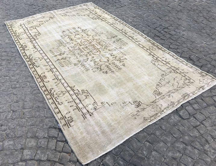 Greenish beige overdyed handmade rug   turkish oushak rugs istanbul carpet treniq 1 1493217257387