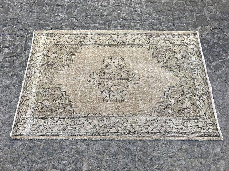 Beige overdyed handmade rug   vintage turkish oushak rug 687 istanbul carpet treniq 1 1493217865304