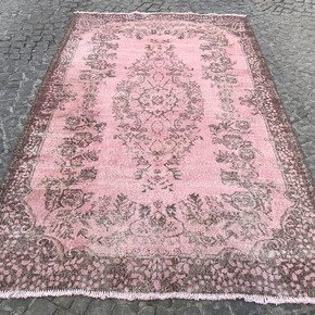 Pink-Overdyed-Turkish-Rug-Handmade-Vintage-Oushak-Carpet_Istanbul-Carpet_Treniq_0