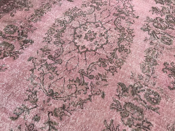 Pink overdyed turkish rug   handmade vintage oushak carpet istanbul carpet treniq 1 1493219730961