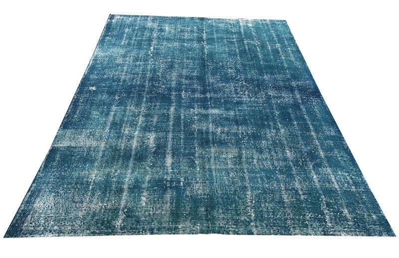 Blue handmade overdyed oushak rug   vintage turkish muted carpet istanbul carpet treniq 1 1493288853269