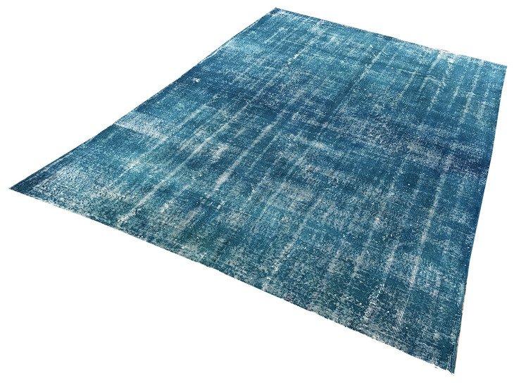 Blue handmade overdyed oushak rug   vintage turkish muted carpet istanbul carpet treniq 1 1493288853271