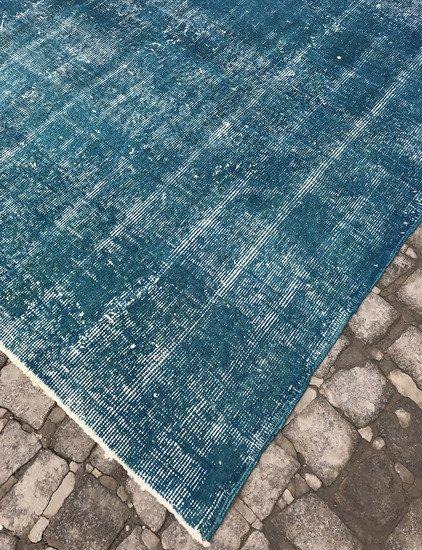 Blue handmade overdyed oushak rug   vintage turkish muted carpet istanbul carpet treniq 1 1493288853272