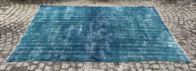 Blue handmade overdyed oushak rug   vintage turkish muted carpet istanbul carpet treniq 1 1493288853266