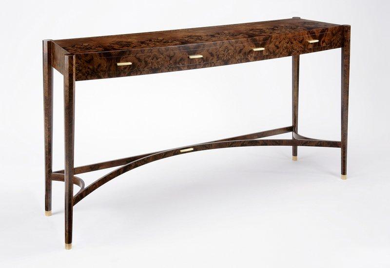 Burr walnut console table philip dobbins 2