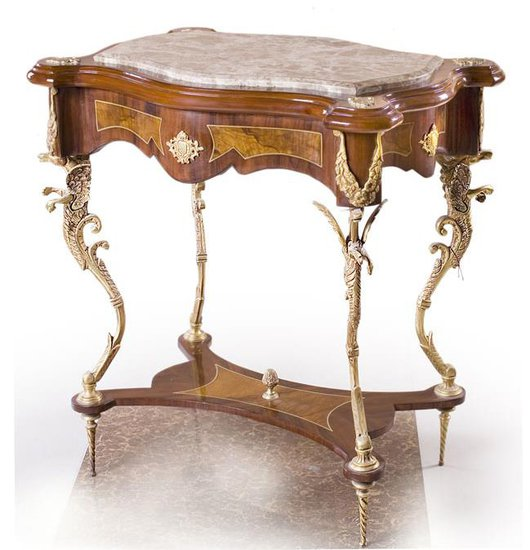 French Louis XV Console Table - Brown, Gold, Wood, Stone,Others ...