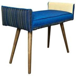 Studio-Series:-Backless-Vanity-Size-Stool:-Colorful-Navy-Pinstripe_Five-Finger-Furnishings_Treniq_0