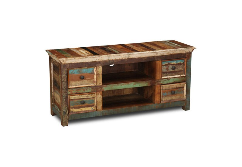 Reclaimed Wood Media Console TV Cabinet