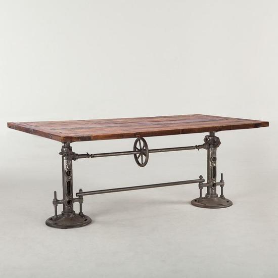 Cast Iron Base Crank Dining Table