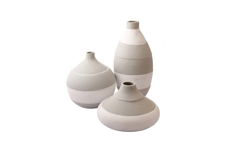 Round Bottle White Grey Vase Set Of 3 Multi Colour Glass