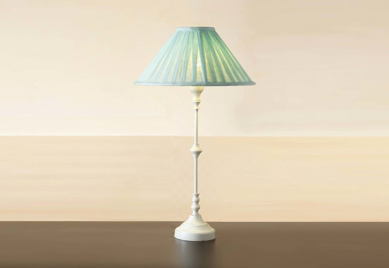 Metal table lamp white 18.5 inch with fabric shade lamp for living room eclat decor  treniq 1