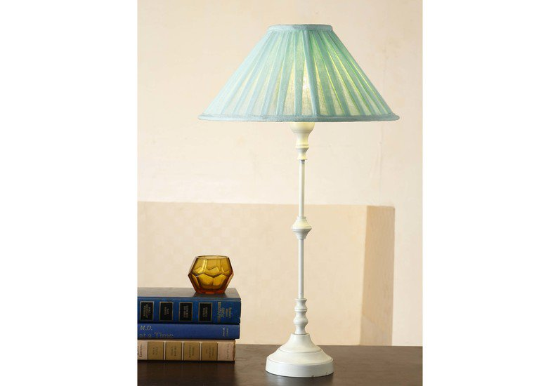 Metal table lamp white 18.5 inch with fabric shade lamp for living room eclat decor  treniq 2