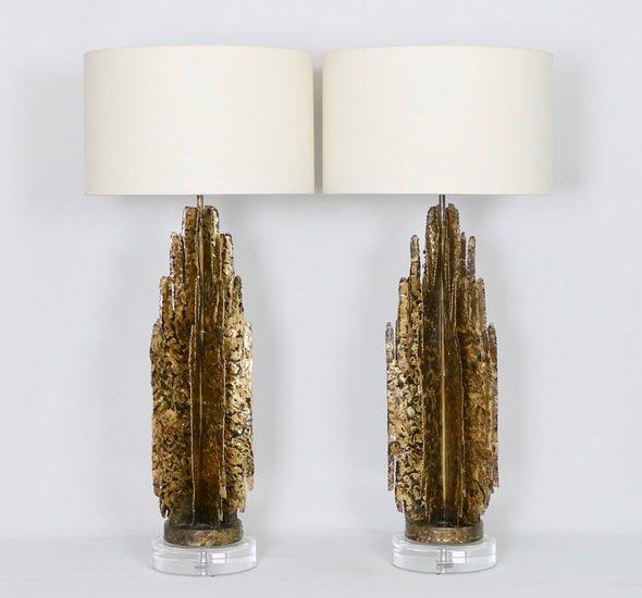 Monumental mcm brutalist pair of lamps  paul evans manner sergio jaeger treniq 1 1499083060564
