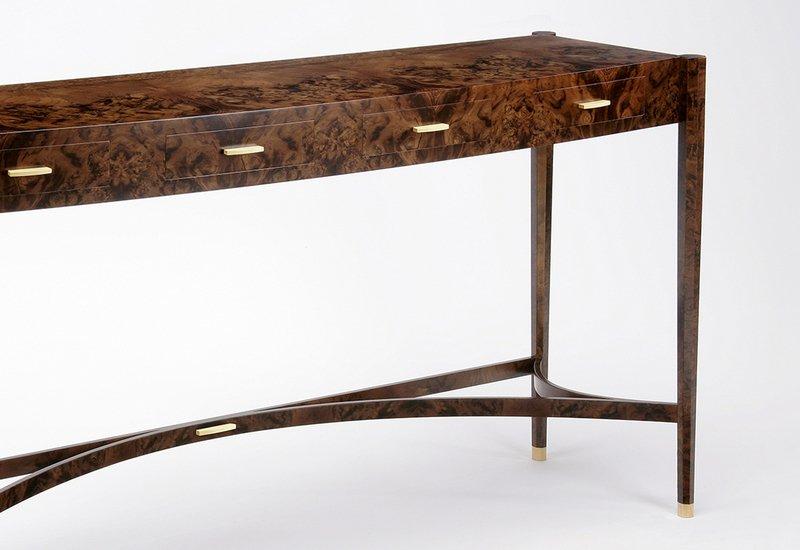Burr walnut console table philip dobbins 4