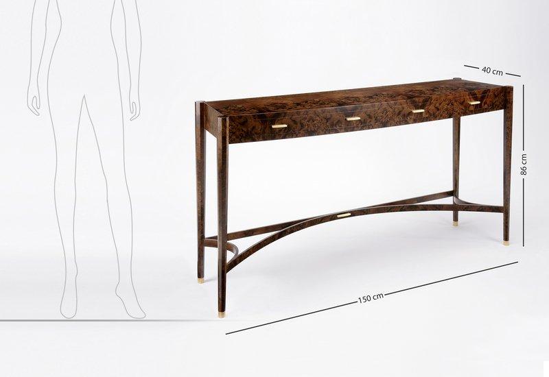 Burr walnut console table philip dobbins 6