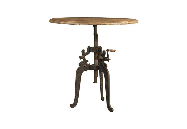 Vintage industrial cast iron carved legs adjustable height crank table shakunt impex pvt. ltd. treniq 1 1499339233531