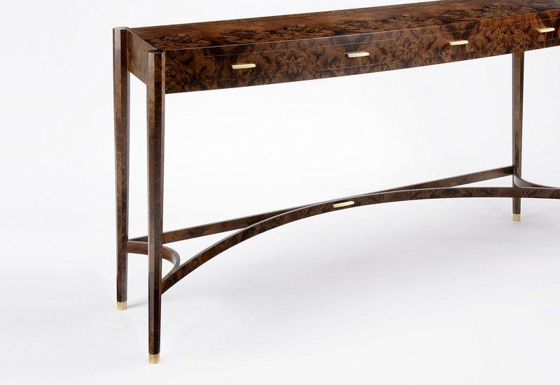 Burr walnut console table philip dobbins 3