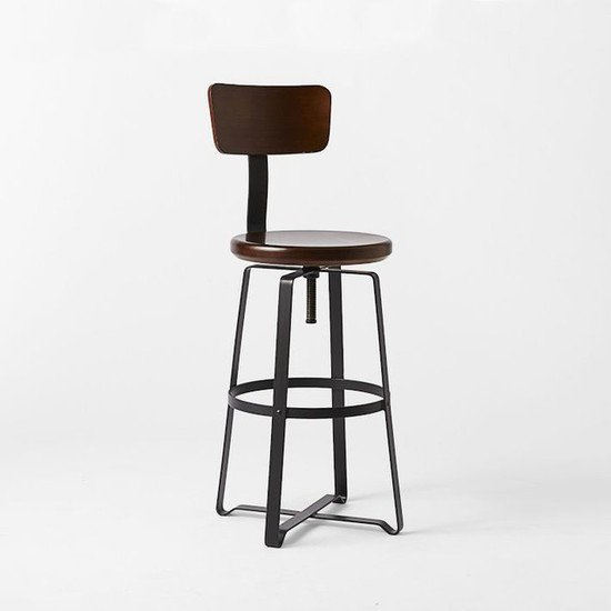 Vintage industrial wooden seat adjustable height bar stool with back rest shakunt impex pvt. ltd. treniq 1 1500635784406