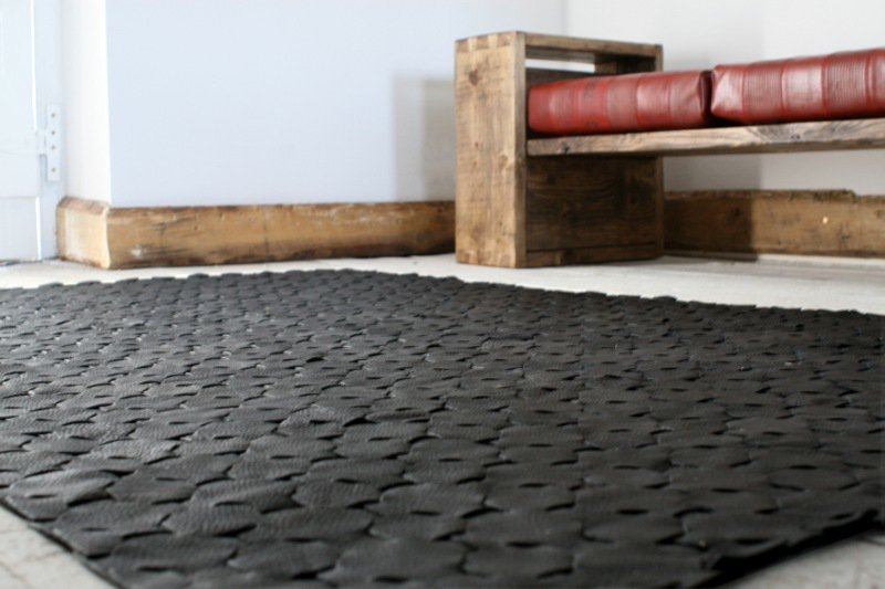 Rescued black leather rug   large 146 x 242 elvis   kresse treniq 1 1502115373172