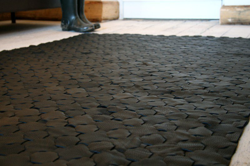 Rescued black leather rug   large 146 x 242 elvis   kresse treniq 1 1502115373171