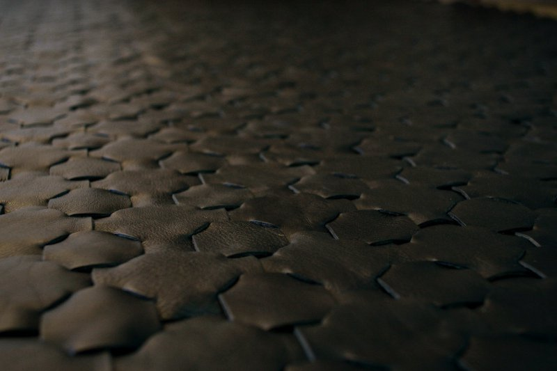Rescued black leather rug   large 146 x 242 elvis   kresse treniq 1 1502115373173
