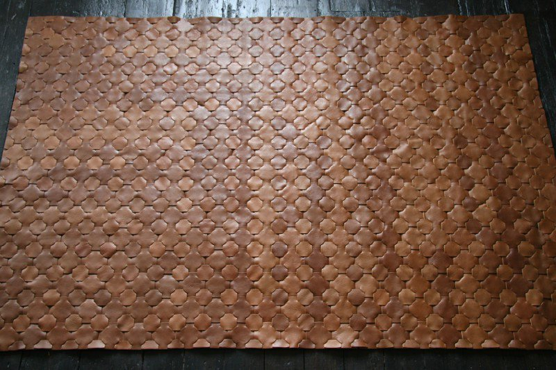 Rescued brown leather rug   large 146 x 242 elvis   kresse treniq 1 1502116212564