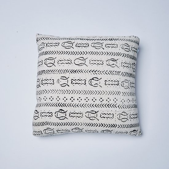 White fish mudcloth cushion nomad design treniq 1 1503572634477