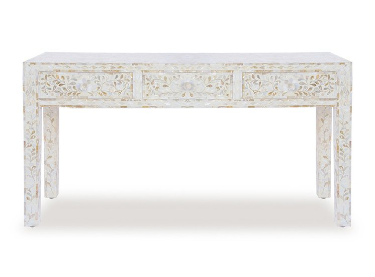 White mother of pearl console table shakunt impex pvt. ltd. treniq 1 1503639699124