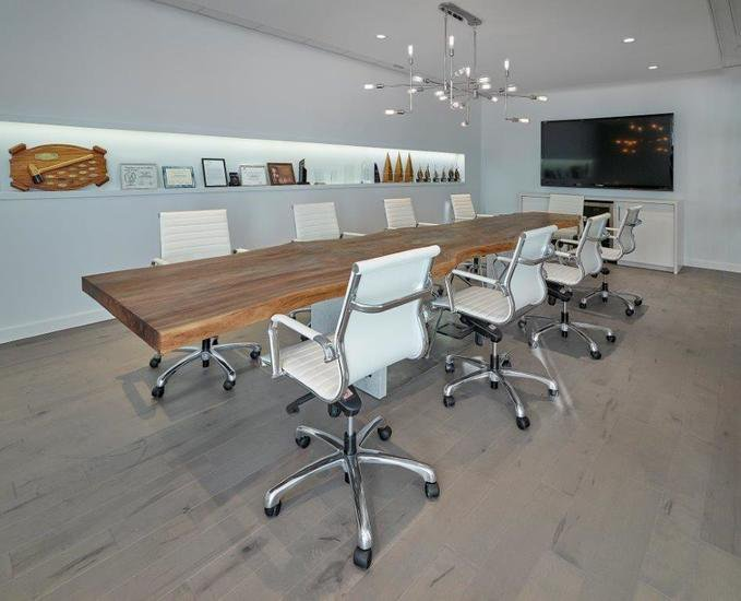Live edge black walnut conference table on a steel and stone base bois   design treniq 1 1504486174921