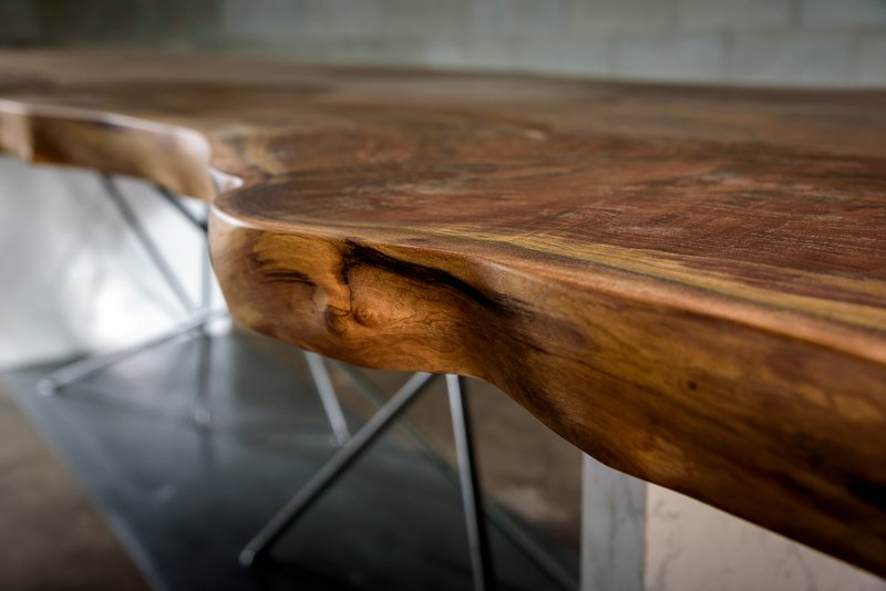 Live edge black walnut conference table on a steel and stone base bois   design treniq 1 1504486174919