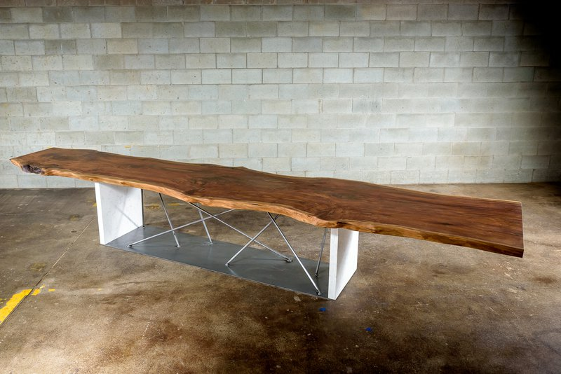 Live edge black walnut conference table on a steel and stone base bois   design treniq 1 1504486174915