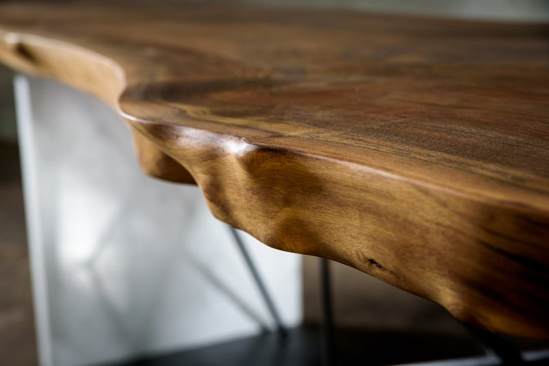 Live edge black walnut conference table on a steel and stone base bois   design treniq 1 1504486174920