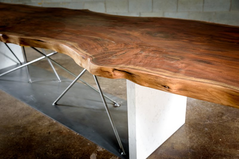 Live edge black walnut conference table on a steel and stone base bois   design treniq 1 1504486174917