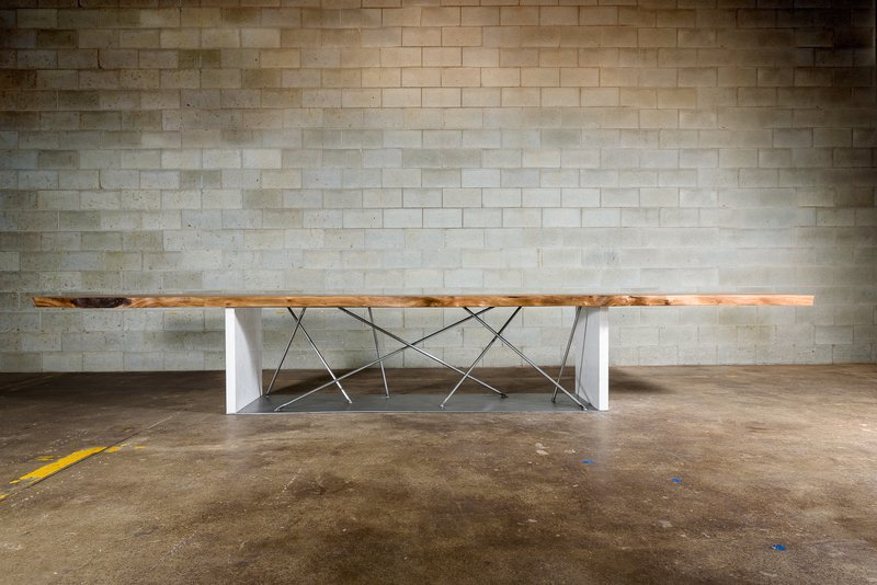 Live edge black walnut conference table on a steel and stone base bois   design treniq 1 1504486174913