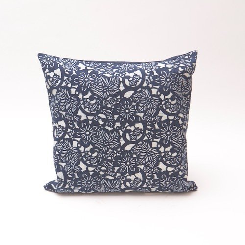 Natural indigo floral pattern cushion  bluehanded ltd treniq 1 1504737710988