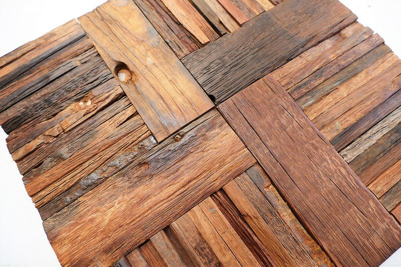 Vintage Style Wood Mosaic Panel Wood Tile Wall Covering Black Impressive Decorative Wood Wall Tiles