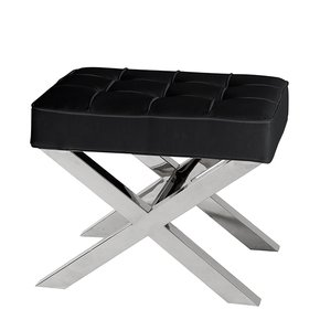 Black Leather Stool by Eichholtz Beekman Place