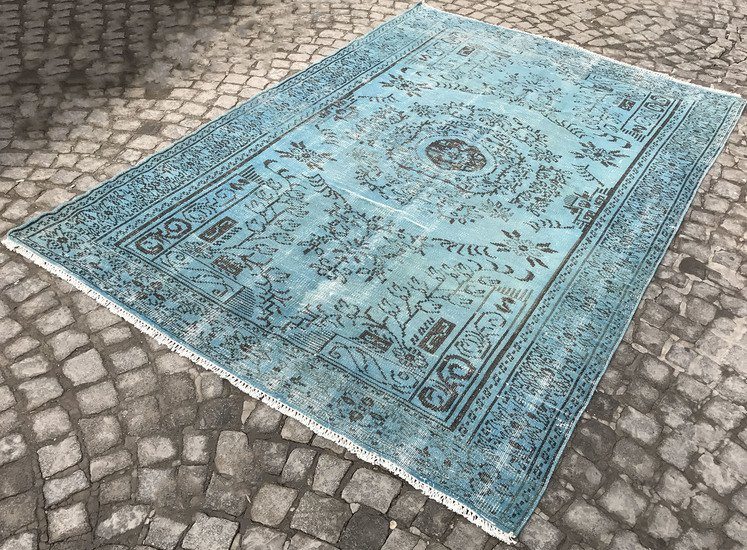 Aqua blue overdyed rug   vintage turkish handmade muted carpet istanbul carpet treniq 1 1491575597635