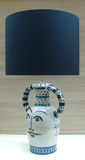 Hilaire blue hand painted ceramic table lamp kinkatou treniq 1 1507908969706