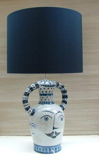 Hilaire blue hand painted ceramic table lamp kinkatou treniq 1 1507908984503