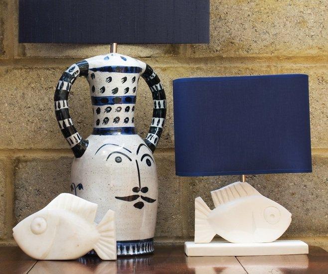 Hilaire blue hand painted ceramic table lamp kinkatou treniq 1 1507909002245