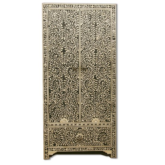 Indian handmade black floral design bone inlay cupboard or wardrobe shakunt impex pvt. ltd. treniq 1 1508918388528
