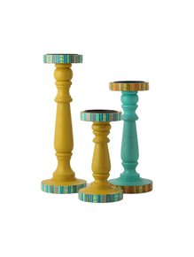 Hand-Painted-Turquoise-&-Yellow-Candle-Holders_Auraz-Design_Treniq_1