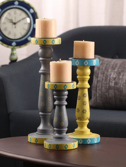 Hand painted spring floral ikat candle holders auraz design treniq 1 1509952313892