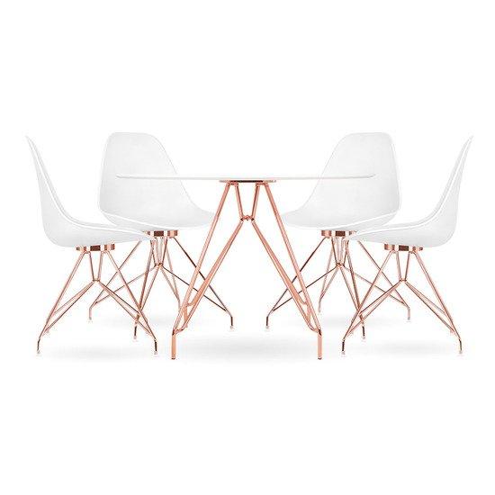 Moda cd1 dining set  1 round table   4 chairs  white 110cm cult furniture treniq 1 1510329952450