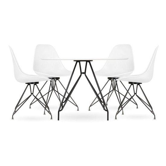 Moda cd1 dining set  1 round table   4 chairs  white 110cm cult furniture treniq 1 1510329952452