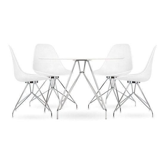 Moda cd1 dining set  1 round table   4 chairs  white 110cm cult furniture treniq 1 1510329952451