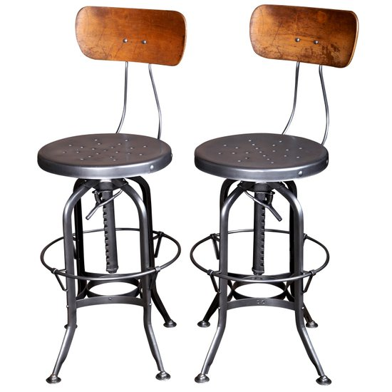Vintage industrial furniture bar stool with back  shakunt impex pvt. ltd. treniq 1 1511604041963